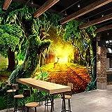 BZDHWWH Wald Grün Landschaft Big Picture Individuelle Tapete Wandgemälde Schlafzimmer Sofa Korridor Wandgemälde Art Theme Tapete Für Wände 3 D,420cm(W) x 260cm(H)
