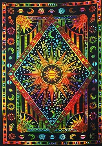 FUTURE HANDMADE Mandala-Wandteppich, Mandala-Motiv, Mehrfarbig, mit Sonnenmond, Bohemian-Stil, Größe 81 x 140 cm