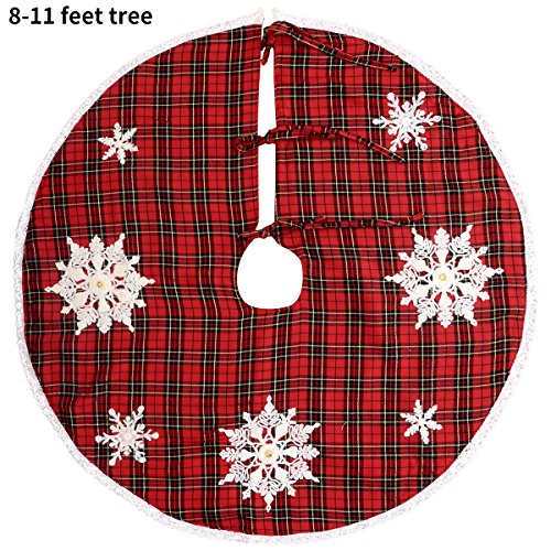 Grelucgo Embroidered Snowflake Christmas Holiday Tree Skirt, Round 54 Inch, Red And Black Buffalo Plaid