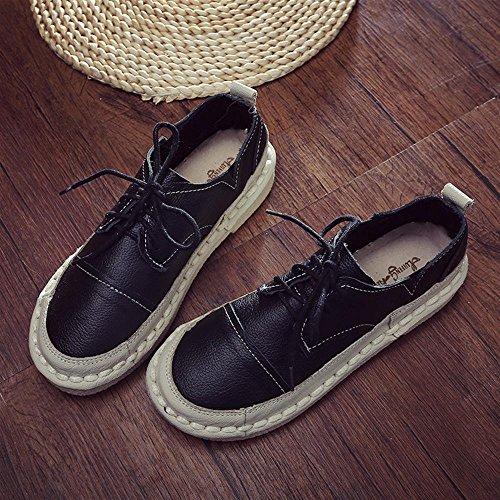 Femmes A Retro Round Toe Fond Plat Dentelle Loisirs Chaussures Noir Idle