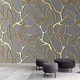 Wallpaper 3D Stereo Gold verlässt Wohnzimmer TV Hintergrundbild kreative 3D-Tapete