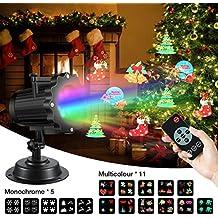Projecteur Fête, SGODDE projecteur de lumière LED avec 16 diapositives de motif et la télécommande, d'éclairage lampe de projection extérieure intérieure, imperméables pour Noël Toussaint festival