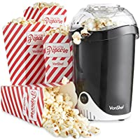 VonShef Fat-Free Hot Air Popcorn Maker with 6 Popcorn Boxes Included