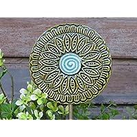 Keramik Gartenstecker Beetstecker Garten Dekoration Handgemacht Grün Blau als Geschenk oder zur Deko im Garten auf einem Metall Stab Wetterfest