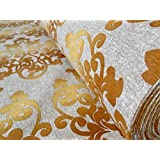 Estampado de oro Tela cortina de material para tapicería algodón 280cm Extra ancho lienzo oro (se vende por metros)