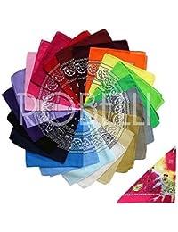 12 Paisley Pattern Assorted Colour Bandanas +1 Pink Tie-dye - 100% Cotton