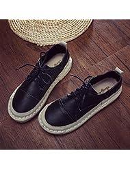 Las Mujeres Un Retro Round Toe Fondo Plano Encaje Negro Zapatos De Ocio Loafing,,35