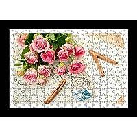 Stile Puzzle, Pre-assemblato, per stampa da parete, motivo: Bouquet di rose, fiori, lettere, by Lisa Loft cannella