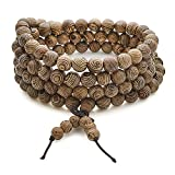 BE STEEL Schmuck Holz Perlen Armbänder für Herren Damen Armband Halskette Buddhist Perlen Elastisch 8mm