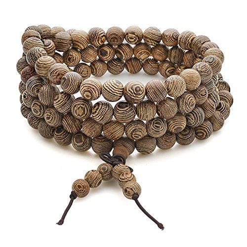 BESTEEL 108 Boules 8MM Bracelets Bois de Santal pour Homme Femme Bouddha Bracelet Classtique Collier Elastique BESTEEL