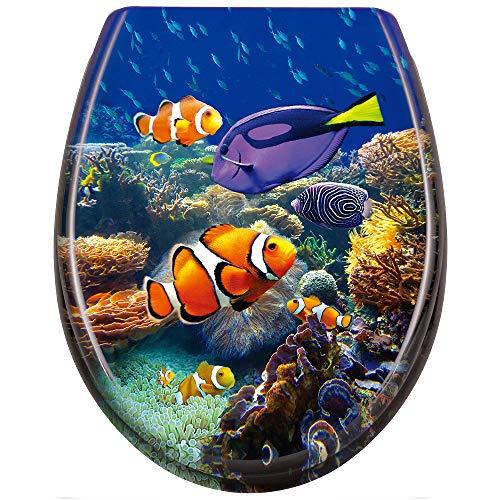 UISEBRT WC Sitz mit Absenkautomatik - WC Klodeckel Toilettensitz mit langsamer Absenkung - Verschiedene Muster zur Auswahl (Süßwasserzierfische)