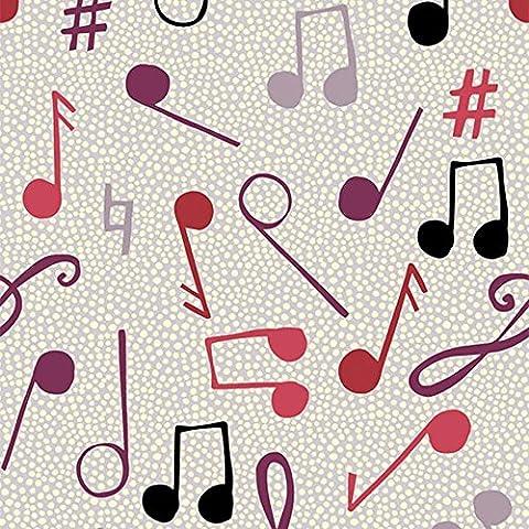 Quilting Patchwork Craft Stoff Musik Noten Muster in Grün von