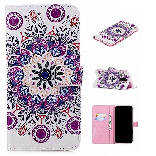 Preisvergleich Produktbild für Smartphone Samsung Galaxy A6 Plus 2018 Hülle,  Leder Tasche für Samsung Galaxy A6 Plus 2018 (6.0 Zoll) Flip Cover Handyhülle Bookstyle mit Magnet Kartenfächer Standfunktion (5)