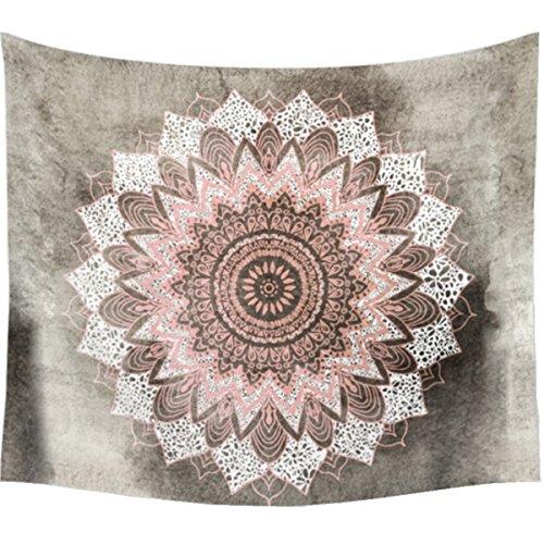 dremisland India Decoración de la pared tapices Hippie bohemio Mandala Lotus tapiz colgar en la pared manta gris y rosa, L/203x153cm(80x60inch)