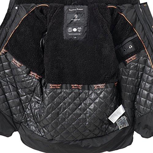 Marikoo Herren Winter Jacke Steppjacke Na Und (vegan hergestellt) 4 Farben + Camouflage S-3XL Schwarz