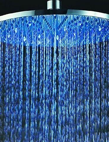 ghy 40,6cm Temperaturkontrolle 24-led RGB Leuchte 304Edelstahl Draht Zeichnung, Verarbeitung Dusche Kopf–Silber