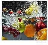 Wallario Herdabdeckplatte / Spitzschutz aus Glas, 1-teilig, 60x52cm, für Ceran- und Induktionsherde, Früchte im und unter Wasser - Splashing Fruits