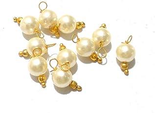 Goelx Pearl Round Designer Hangings for Jewellery Making, Beading & Decorative Art Craft Work - Pack of 50 !!