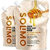 Marca Amazon - Solimo Recambio de jabón líquido para manos. Fórmula cuidado hidratante a la leche y miel-Paquete de 2 (2 Reca