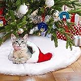 Pingxia Lusso Gonne per Alberi di Natale Bianco Tappeto Albero Natale Rotondo Peluche Albero di Natale Decorazioni Anno Nuovo Casa Esterno 90cm