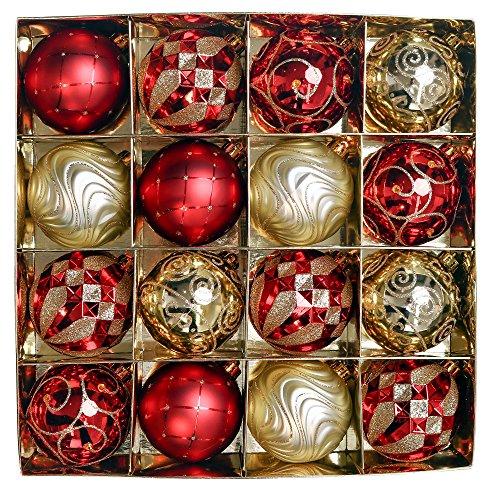 Valery Madelyn Weihnachtskugeln Set 8CM 16 Stücke Luxus Rot und Gold Thema Glänzend Glitzernd Matt aus Kunststoff Christbaumkugeln mit Aufhänger Weihnachtsbaumschmuck Weihnachten Dekoration für Party Hochzeit
