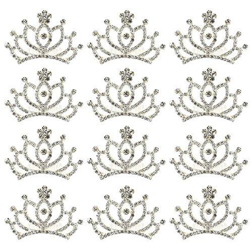 VILLAVIVI 12 Sets Mädchen Krone Haarspange Haarreifen Prinzessin Glitzer Blumenmädchen Schmuck Geschenke Kopfschmuck Strass Geburstag (Blumenmädchen 12)
