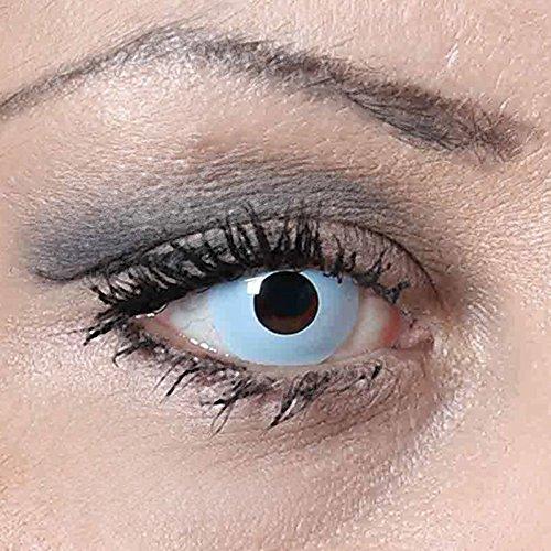 COOLEARTIKEL Halloween/Fasching farbige-Kontaktlinsen eisblau, 1 Paar 3-Monats Motivlinsen im Design ice blue ohne Stärke