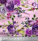 Soimoi Rosa Satin Seide Stoff Blätter & Rose Blume Drucken