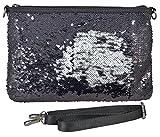 yourlifeyourstyle Pailetten Umhängetasche mit glänzenden beweglichen Pailetten - beidseitig tragbar - toller Effekt - mit verstellbarem Schulterriemen - Maße 30x20 cm (schwarz/weiß)