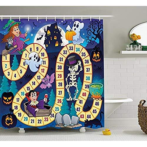 KYCD Brettspiel Duschvorhang, Halloween Symbole Happy Hexe Girl Vampire Ghost Pumpkins Glücklich, Comic, Stoff Badezimmer eingerichtet mit Haken, Multicolor 72