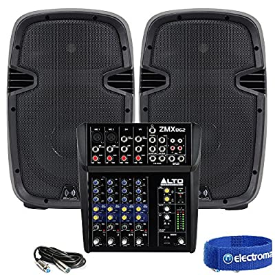 "Pair of Active 10"" Pub Gig Party Speakers + 6-Channel Mixer PA System 800W from Electromarket"