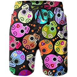 Watercolor skulls men's beach surfing board shorts swim trunks