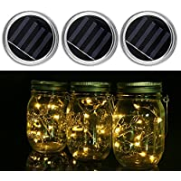 JIEDU 3 Pack-Mason Jar luces solares, 10 LED String luces tapas insertar para la boda de Navidad Holiday Party luz decorativa, luces colgantes para el jardín, patio, fiesta al aire libre (tarros no incluidos) (color cálido)