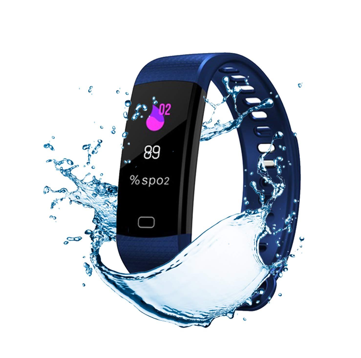 Pulsera de Actividad Inteligente FitBand cRadia con pantalla táctil, pulsómetro láser, monitor de Frecuencia Cardíaca HR, Podómetro, resistente al agua con protección IP67, contador de pasos y monitor de Sueño para Android y iPhone 7