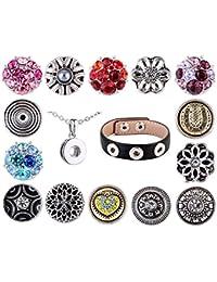 Morella señorías small Click-Button circonios Set Collar 3er pulsera 14 pcs pulsadores