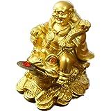 تمثال صغير لتزيين المكتب والمنزل والمكتب باللون الذهبي من مادة البولي ريسين من فينج شوي