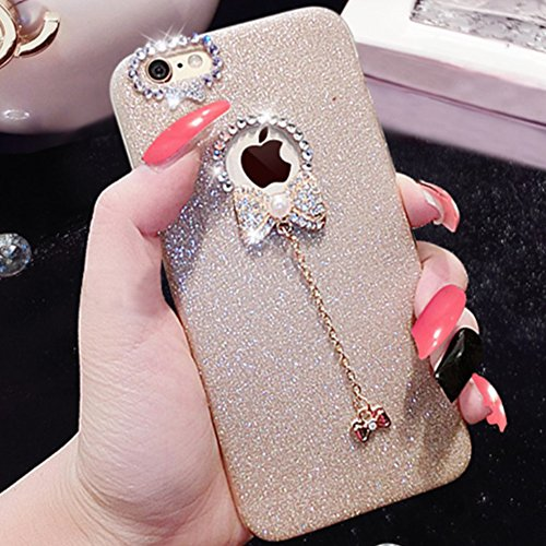 Custodia iPhone 6 Glitter, iPhone 6S Cover Silicone, SainCat Cover per iPhone 6/6S Custodia Silicone Morbido, Custodia Bling Glitter Strass Diamante Rhinestones 3D Design Ultra Slim Silicone Case Ultr Doro #2
