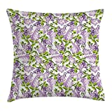Mauve Decor Throw Pillow Cushion Cover, Spring Tree with Vibrant Blossoms Frangrance Botany Plant Eco Illustration, Decorative Square Accent Pillow Case, 18 X 18 inches, Lilac Green