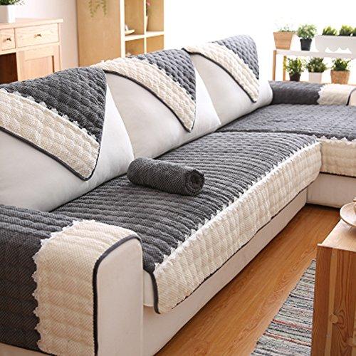 J&dssu divano copertina cotone tinta unita coprisofà 1 pezzo antiscivolo resistente alle macchie lavabile in lavatrice copridivani per 1 2 3 4 divano-grigio 70x150cm(28x59inch)