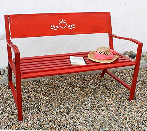 DanDiBo Bank Passion Gartenbank Rot 2 Sitzer 121496 Sitzbank 120 cm Metall Eisen Blumenbank Garten - Sitzbank Outdoor Rot,