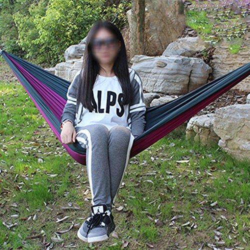 BXT Hängematte aus Fallschirmseide für eine Person bis 100kg (230*90 cm,Grün+Lila) - 2