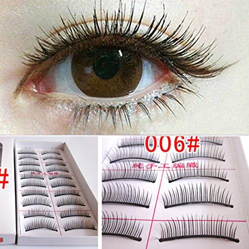 M-Queen 10 Paires Faux Cils Eyelash Curl Naturels Longues en Fibres Cosmetique Maquillage Yeux
