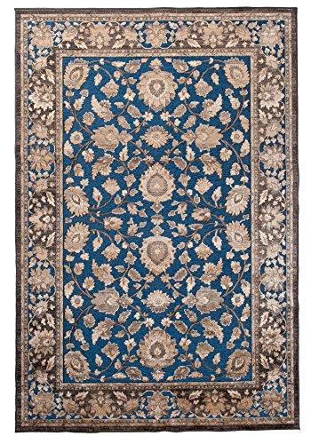 Tapiso Bohemian Teppich Klassisch Kurzflor Vintage Orientalisch Floral Ziegler Designer Muster Braun Blau Wohnzimmer ÖKOTEX 80 x 150 cm -
