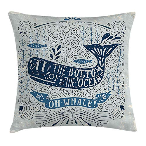 Whale Throw Pillow Cushion Cover, Old Fashion at The Bottom of The Ocean Quote with Nostalgic Illustration, Decorative Square Accent Pillow Case, 18 X 18 Inches, Dark Blue Almond Green