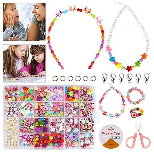 Etmury Perlen Zum Auffädeln ,DIY Perlenarmbänder Set Kinder Schmuck Schnur Set , Freundschaftsarmbänder Halsketten Perlenschmuck Schmuckbasteln, Geschenk für Mädchen Kinder