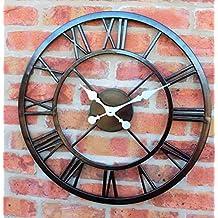 Grande orologio da parete per esterni grandi numeri romani Giant Open Face metallo 58cm