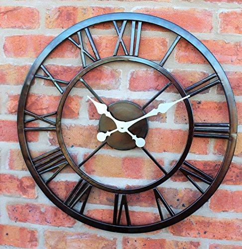 Galleria fotografica Grande orologio da parete per esterni grandi numeri romani Giant Open Face metallo 58cm