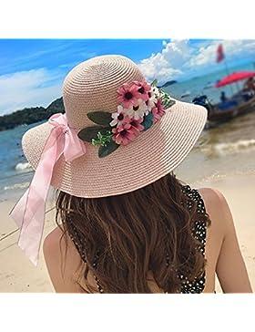 LVLIDAN Sombrero para el sol del verano Lady Anti-Sol Playa sombrero de paja rosa