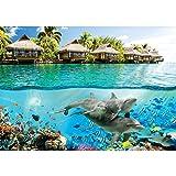 Vlies Fototapete PREMIUM PLUS Wand Foto Tapete Wand Bild Vliestapete - Paradies Meer Bali Meerestiere Delfine - no. 1888, Größe:208x146cm Vlies