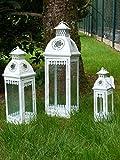 Lanterna in legno e metallo, stile shabby chic, portacandela antivento adatta per il giardino e la casa di campagna, Metallo Vetro Legno, Medio